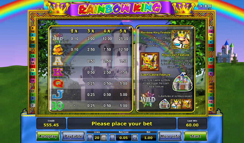 Rainbow King - Paytable