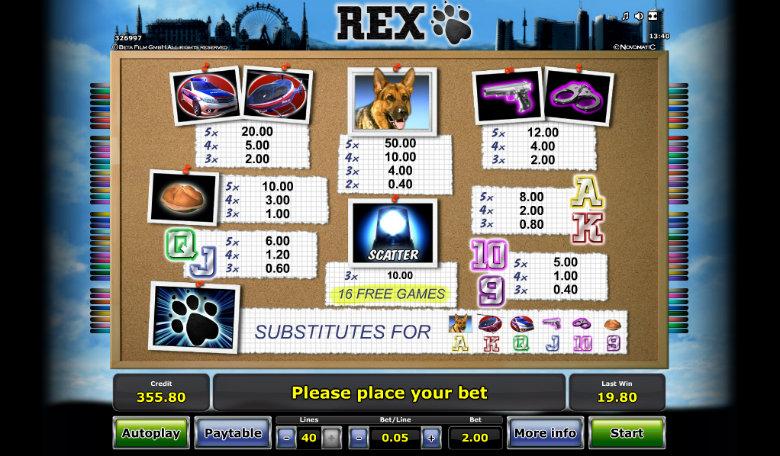 Rex - Paytable