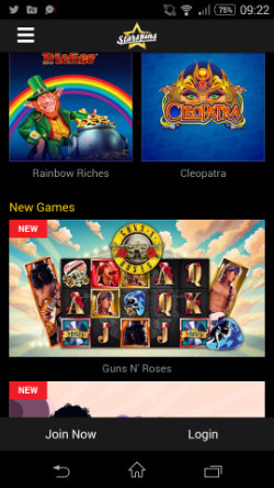 Play top online slots on smartphone & tablet at Starspins Mobile Casino