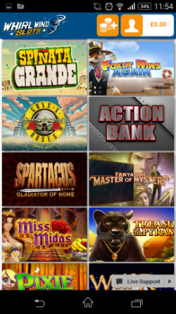 Play live casino games at Whirlwind Slots Mobile