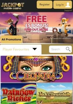 Jackpot Mobile Casino | Get a £5 free casino bonus