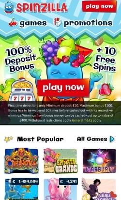 Spinzilla Mobile Casino ! Get a £5 free casino bonus
