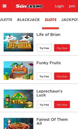 SunCasino Mobile | Get 25 free spins on your 1st deposit