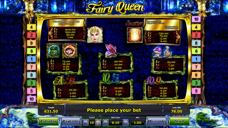 Fairy Queen - Paytable