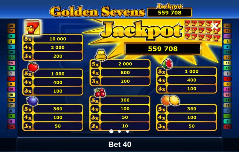 Golden Sevens - Paytable