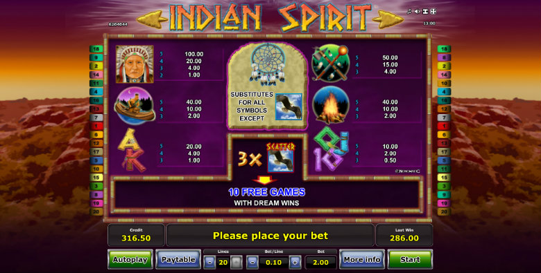 Indian Spirit - Paytable