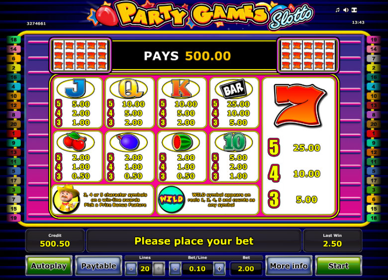 Party Games Slotto - Paytable