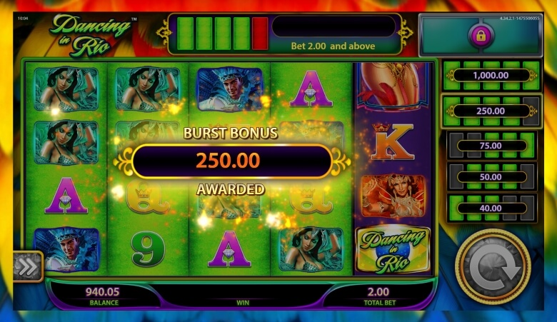 Dancing in Rio progressive jackpot