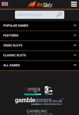 Wild Slots Mobile Casino Main Menu