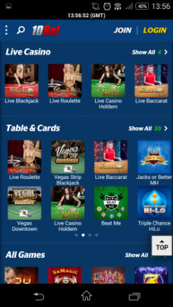 10bet Mobile Casino - Live Casino
