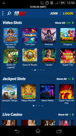 10bet Mobile Casino - Video Slots