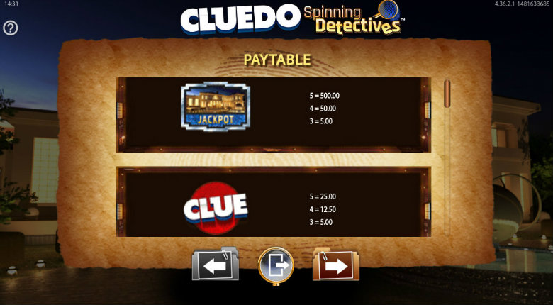 Cluedo Spinning Detectives - Paytable