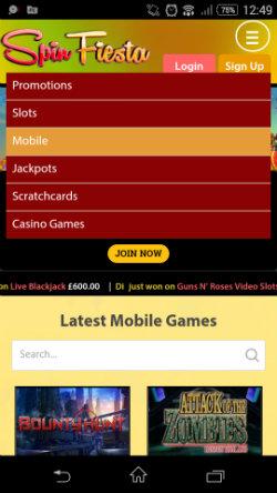 Spin Fiesta Mobile Casino - Casino Bonuses