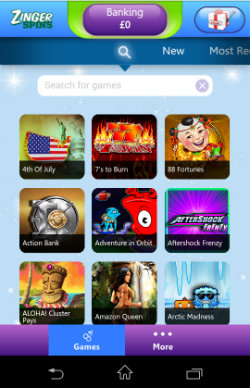 Zinger Spins Mobile - Casino Games